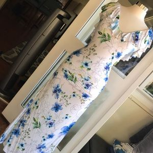 Sky maxi dress white floral dress Open Back